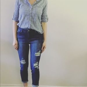 Artisan NY Distressed Sequin Skinny Jeans